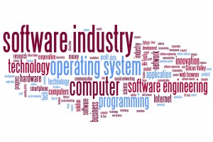 Software industry issues and concepts word cloud illustration. Word collage concept.