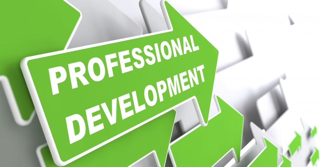 "Professional Development - Business Concept. Green Arrow with ""Webinar"" slogan on a grey background. 3D Render."